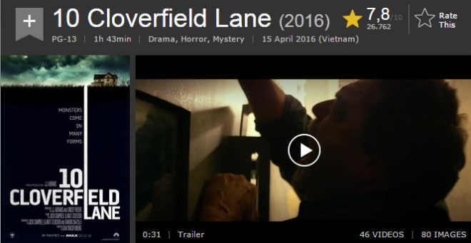 10 Cloverfield Lane Phim kinh dị tháng 4 có điểm số cao bất ngờ