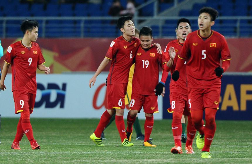 U23 Việt Nam kiểm tra doping sau trận thắng U23 Australia. Ảnh: AFC