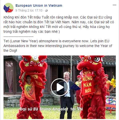 Bài đăng trên Facebook của Phái đoàn EU tại Việt Nam.