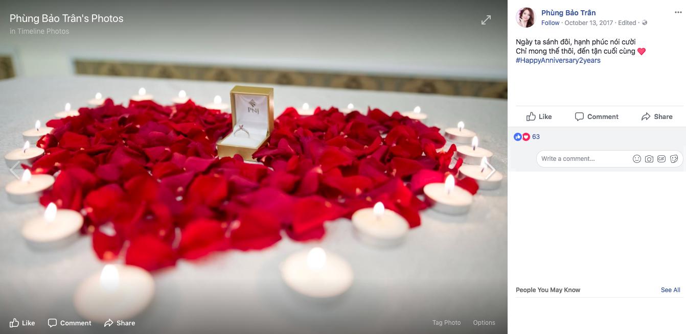 Ngày kỷ niệm tình yêu 2 năm, Văn Thanh đã dày công sắp đặt hình trái tim bằng những cánh hồng đỏ để mang đến sự bất ngờ cho Bảo Trân…