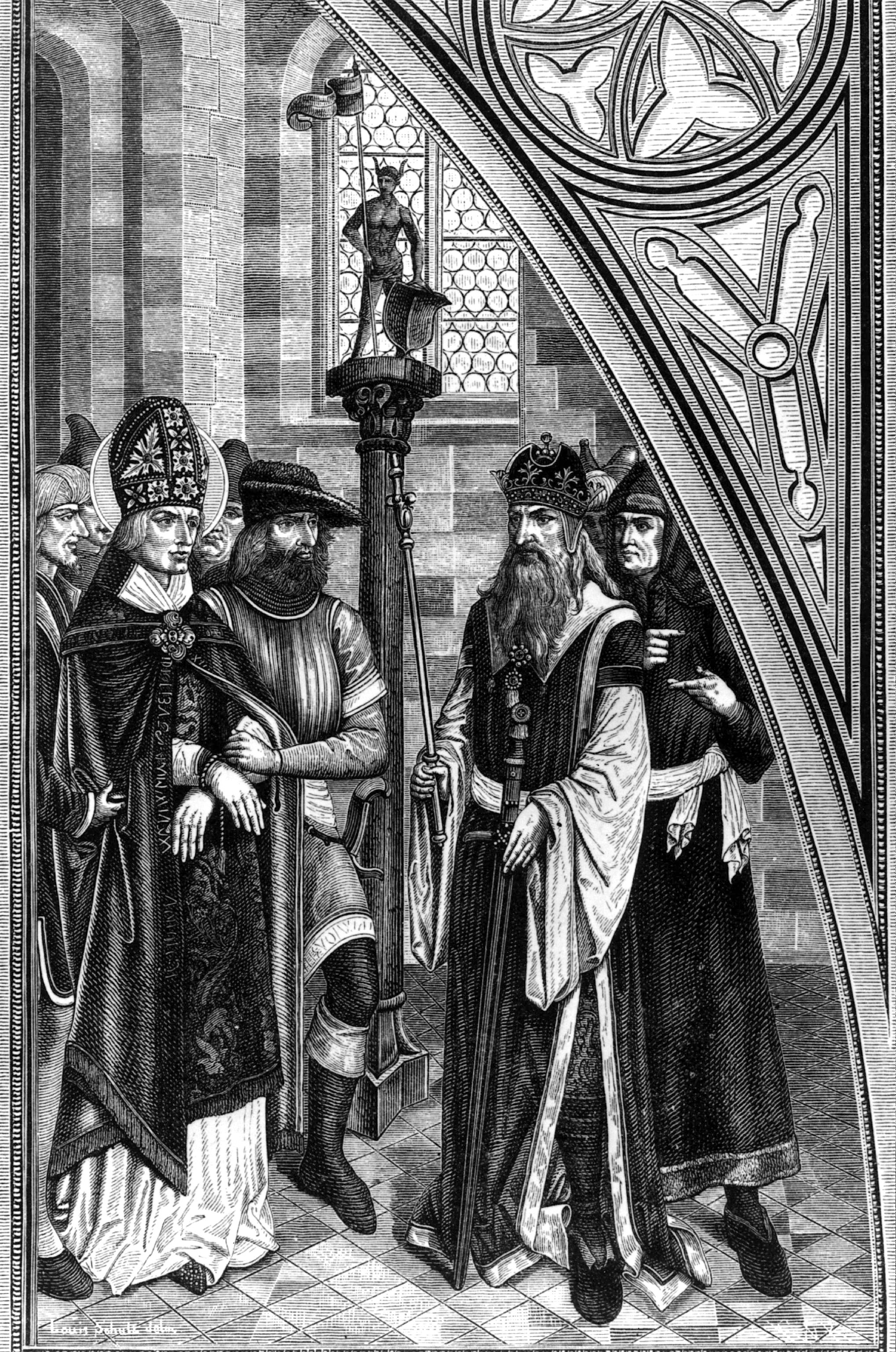Phiên tòa xét xử Thánh Valentine, người đứng ra tổ chức hôn lễ cho các cặp đôi yêu nhau.