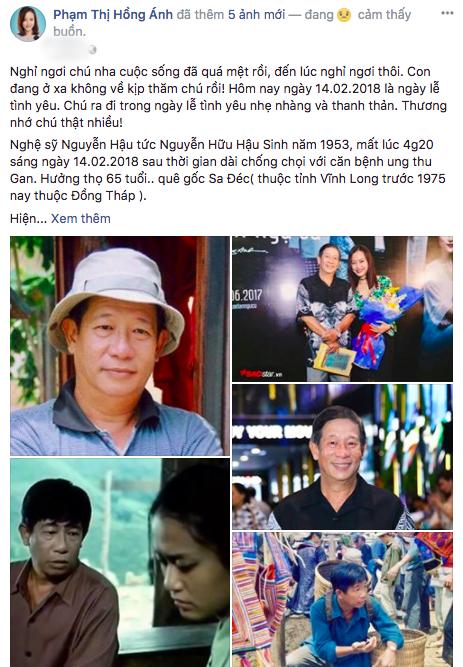 Hồng Ánh bày tỏ sự tiếc thương trước sự ra đi của Nguyễn Hậu. Do đang ở xa nên cô không thể về kịp về đám tang của nam diễn viên Người đẹp Tây Đô.