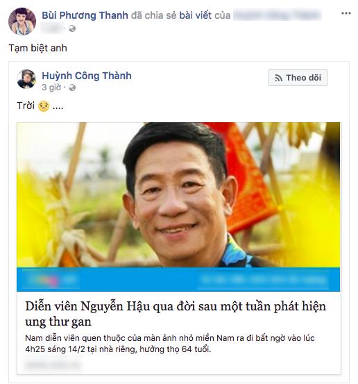 Ca sĩ Phương Thanh tạm biệt người nghệ sĩ tài hoa của màn ảnh Việt.