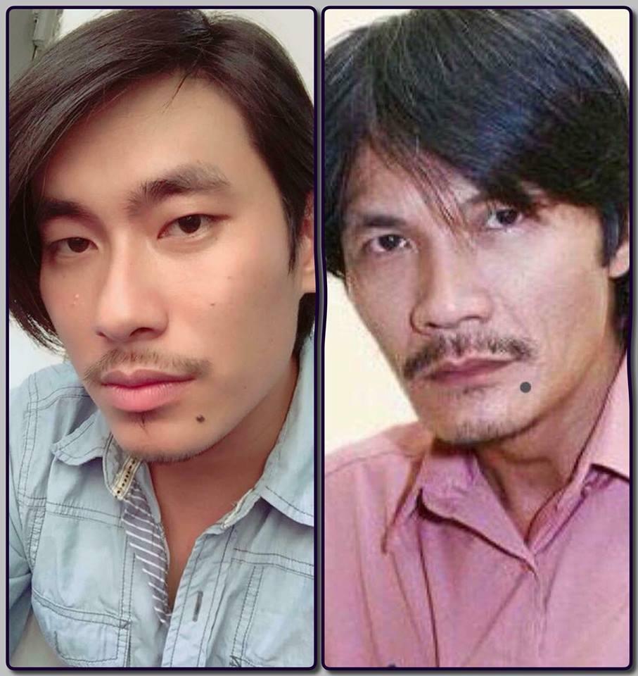 Nhờ nốt ruồi, Kiều Minh Tuấn và nghệ sĩ Công Ninh giống nhau đến ngỡ ngàng.