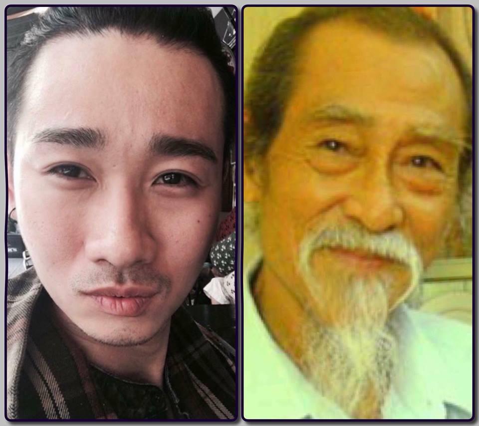 """Có ai ngờ Hải Triều và nghệ sĩ Đăng Dung lại có sự """"tương quan"""" đến bất ngờ sau khi ghép ảnh chung."""