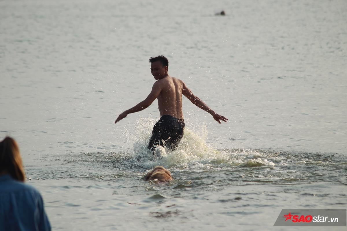 các chú chó được chủ dạy bơi…