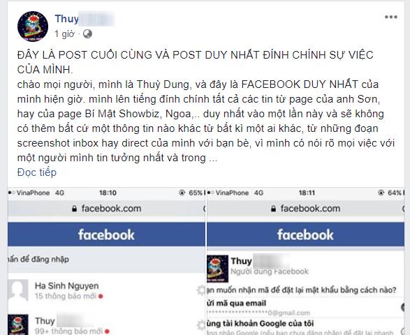 Facebook mới được cho là Thùy Dung lên tiếng đính chính về vụ việc ồn ào nhiều ngày qua.