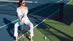 Khánh My 'lột xác' với thần thái nữ quyền tại sân Tennis