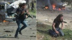 Nhà báo quì khóc nức nở bên xác em bé chết vì bom