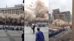 Trung Quốc: Cả toà nhà bất ngờ đổ sập khiến người đi đường bỏ chạy tán loạn