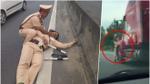 Làm nhiệm vụ, một cảnh sát giao thông bị hất văng xuống đường nguy kịch