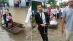 Dân làng hò reo khi xem đám cưới 'em gái mưa' với màn rước dâu bằng xuồng