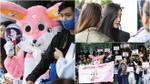 Fan mặc đồ thú nhồi bông đáng yêu đợi T-ara tại khách sạn giữa trời nắng