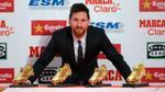 Messi lại lảng tránh chuyện hợp đồng trong ngày nhận Giày vàng châu Âu