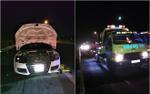 Siêu xe Audi 2 cửa bất ngờ phát hỏa trên đường cao tốc