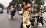 Hình ảnh đẹp: Chiến sĩ CSGT đạp xe chở cụ ông 88 tuổi lạc đường về nhà