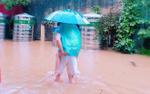 Xúc động hình ảnh bố cặm cụi cõng con gái lội qua con đường ngập nước để đến điểm thi