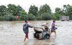 Kiếm bộn tiền ngày Hà Nội biến thành sông: Nhặt biển số xe, chở người và hành lý qua dòng nước ngập
