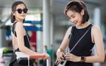 Cao Thái Hà khoe lưng trần trắng mịn khó ai rời mắt tại sân bay