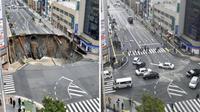 Kinh ngạc trước hình ảnh hố tử thần được người Nhật sửa xong chỉ trong vòng 2 ngày