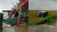 Lốc xoáy làm sập 2 ngôi nhà, cuốn ô tô bay xuống ruộng, 4 người bị thương