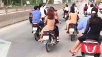 Cả đoàn rước dâu không mũ bảo hiểm, lạng lách trên quốc lộ