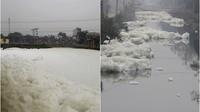 Bất ngờ với hình ảnh nước tung bọt trắng xóa như 'dòng sông tuyết'