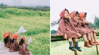 'Bộ 3 sát thủ mầm non' trên cánh đồng hoa cải siêu dễ thương