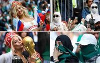 Muôn màu World Cup: Fan nữ Nga hở táo bạo, Saudi Arabia 'kín như bưng'