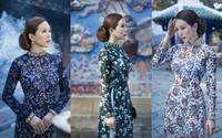 Diện áo dài quý phái, hoa hậu U50 chụp ảnh trong chùa cổ