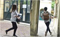 Sát giờ thi môn Toán, Hà Nội bất ngờ đổ mưa, nhiều thí sinh 'co cẳng' chạy cấp tốc vào phòng thi vì sắp muộn giờ