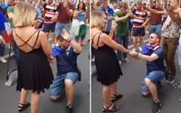 Cầu hôn bạn gái giữa đám đông ăn mừng Pháp vô địch World Cup, chàng trai bị từ chối 'phũ phàng'