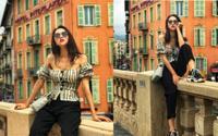 Sao Việt mặc gì hôm nay: Mặc áo trễ nải hững hờ mà lại ngồi gác chân bá đạo thì chỉ có thể là hoa hậu Hương Giang