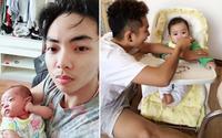 Bất ngờ với cảnh trông con mọn thay vợ bơ phờ của chồng trẻ Khánh Thi
