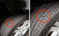 Thấy lốp xe 'dính' ống kim loại kiểu này, tài xế nên cẩn thận vì có thể sắp gặp cướp