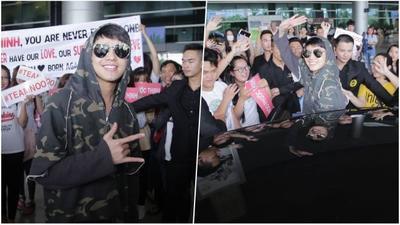 Sau khi 'gây bão' tại Hàn Quốc, Noo Phước Thịnh tiếp tục đại náo sân bay ngày trở về