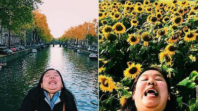 Cô nàng siêu hài hước với loạt ảnh 'Cằm hai ngấn đi khắp thế gian'