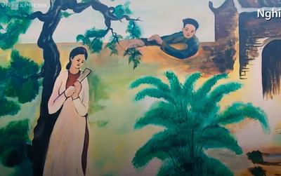Truyện Kiều được tái hiện trên tường ở Hà Tĩnh