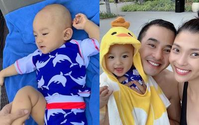 Thúy Diễm - Lương Thế Thành 'đầu tư' nguyên quả đầu sư cọ mốc đáng yêu cho con trai