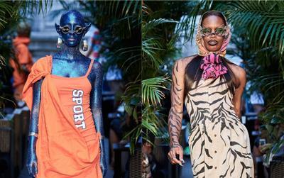 Dàn người mẫu để ngực trần, vẽ da hổ trên sàn diễn New York Fashion Week