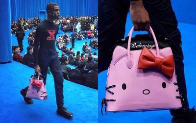 Trend xuân hè 2020 từ Balenciaga: Người mẫu nam xách túi Hello Kitty tự tin sải bước