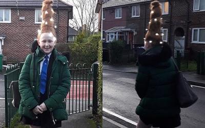 Nữ sinh 'chơi trội' tạo kiểu tóc cây thông Giáng sinh thêm cả đèn trang trí lấp lánh đến trường