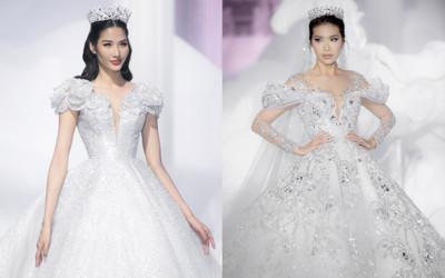 Hoàng Thuỳ, Minh Tú diện váy cưới quá sức lộng lẫy khiến fan tê liệt