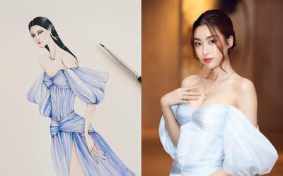 Hé lộ bản vẽ 'chiếc đầm biển khơi' của Đỗ Mỹ Linh, từ phác thảo đến mẫu thật đều lộng lẫy