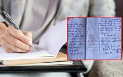 Chấm bài kiểm tra gặp học trò viết chữ xấu, cô giáo phải thốt lên 'má ơi...'