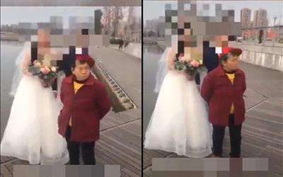 Cụ bà phá buổi chụp ảnh cưới của cô dâu chú rể vì xin tiền không được và cái kết gây tò mò