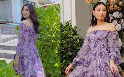 Hoa hậu Đặng Thu Thảo lấn át siêu mẫu Lê Thúy khi diện váy tím bay bổng