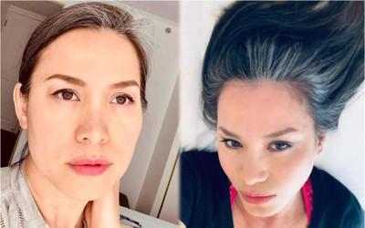 Hoa hậu Việt Nam Ngọc Khánh dù tóc bạc rợp đầu nhưng nhan sắc lại gây chú ý