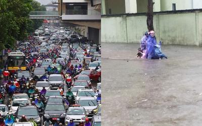 Hà Nội tắc đường tới nghẹt thở, Chương Mỹ ngập lụt nghiêm trọng vì mưa lớn kéo dài hàng giờ