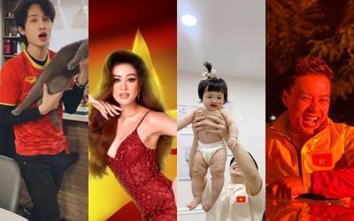 Chung với niềm vui chiến thắng của đội tuyển Việt Nam, dàn nghệ sĩ Việt mỗi người có cách ăn mừng riêng